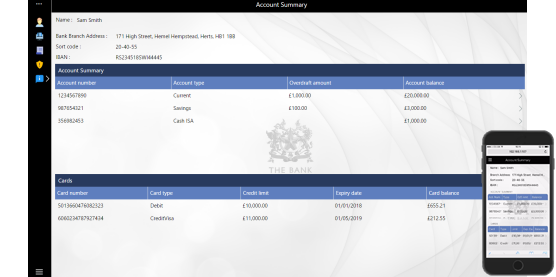 Evoke online banking demo app screenshot