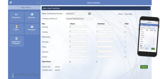Evoke Timesheets and Expenses demo app screenshot